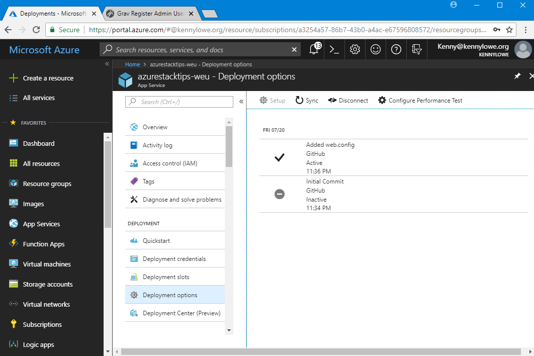 Grav on Azure - Grav Code Deployment | Thoughts and Tips for the